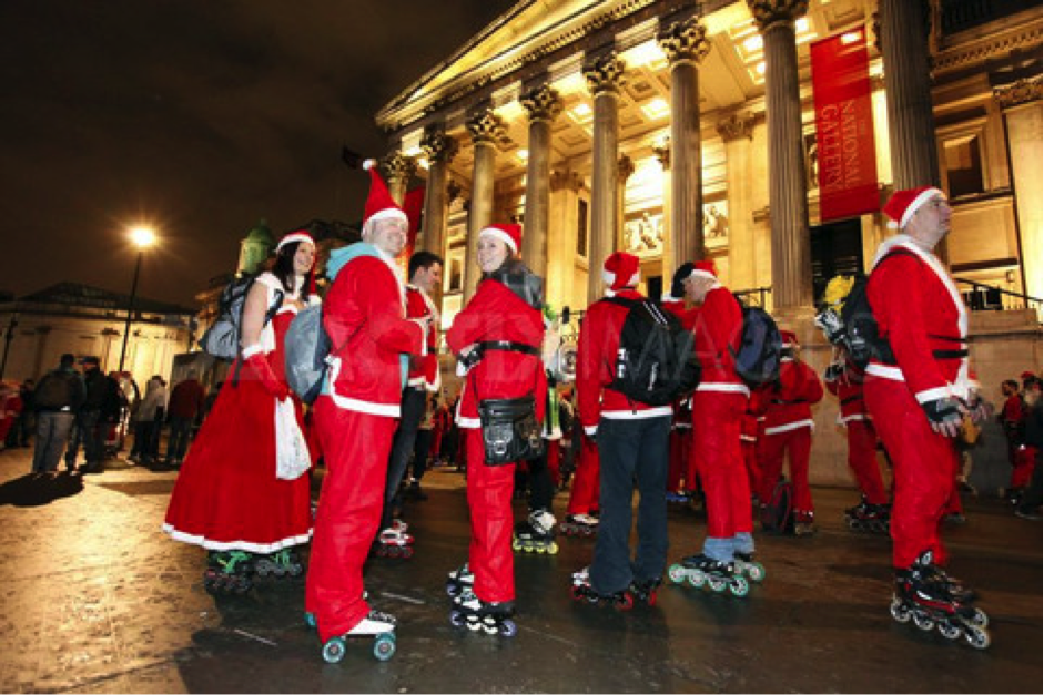 People dress up as Santa Clause